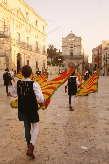 a history ceremony in the old Town of Siracusa in Sicily in south Italy in Europe. photo