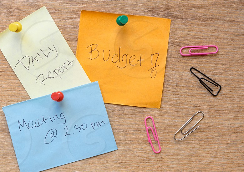 post it notes with daily report budget meeting @ 2::30 and pink black and gray paper clips photo