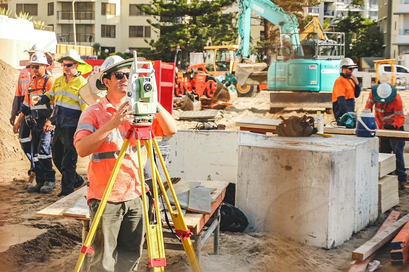 surveyor at a building site  photo