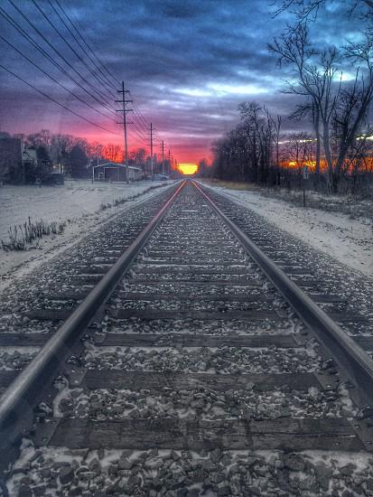 grey metallic rail road photo