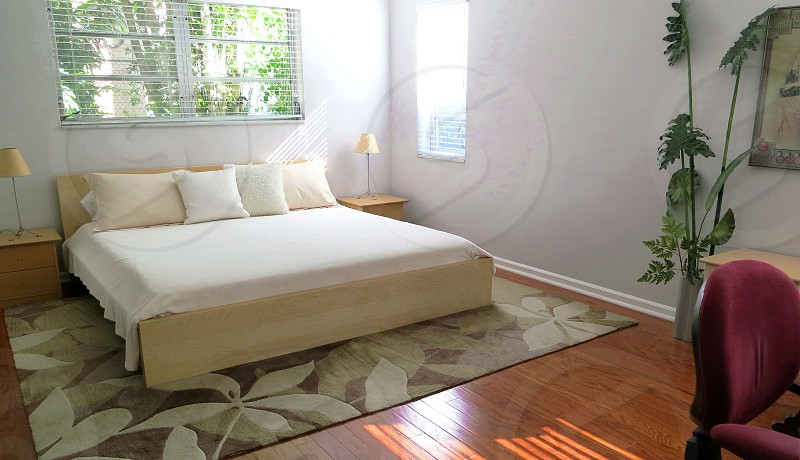 Bedroom neutral colors clean lines photo