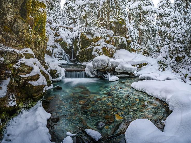snow winter waterfall Virgin falls photo