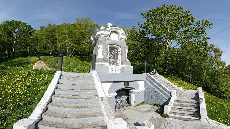 Panorama view of cultural heritage - Monument Chapel built in honor of the successful defense of Petropavlovsk from attack of Anglo-French squadron in 1854. Historical monument established 1912 photo