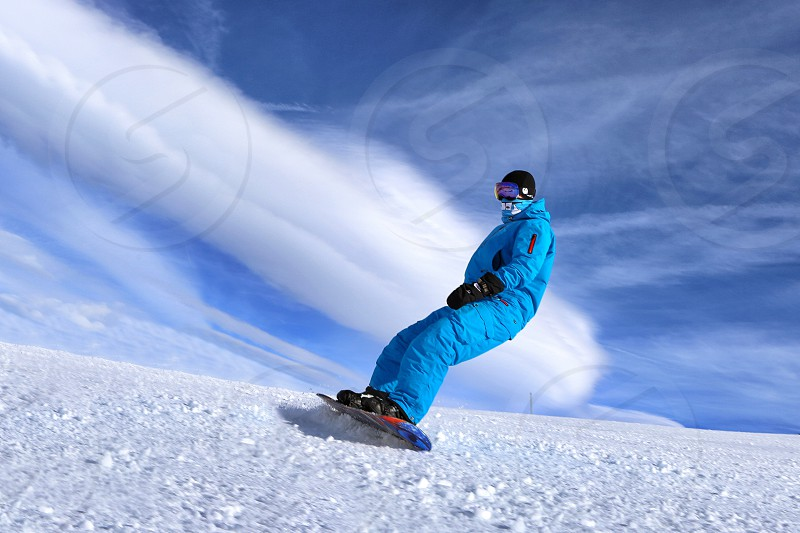 Winter sport snowboard man extremely  photo