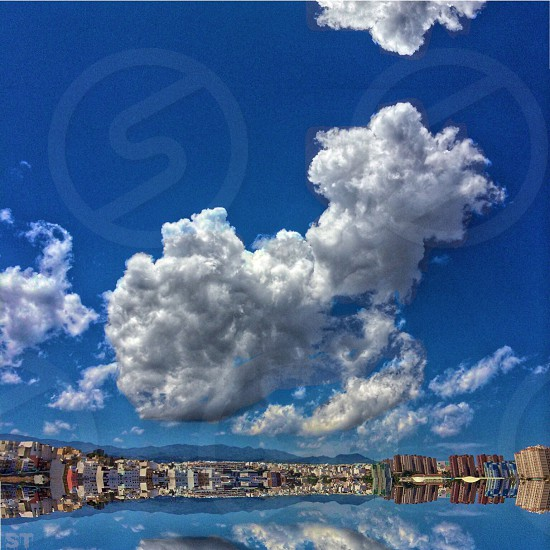 Reflection in Las Palmas de Gran Canaria. Clouds on the Horizon. photo