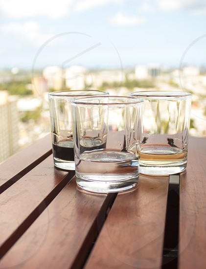 clear round base drinking glass  photo
