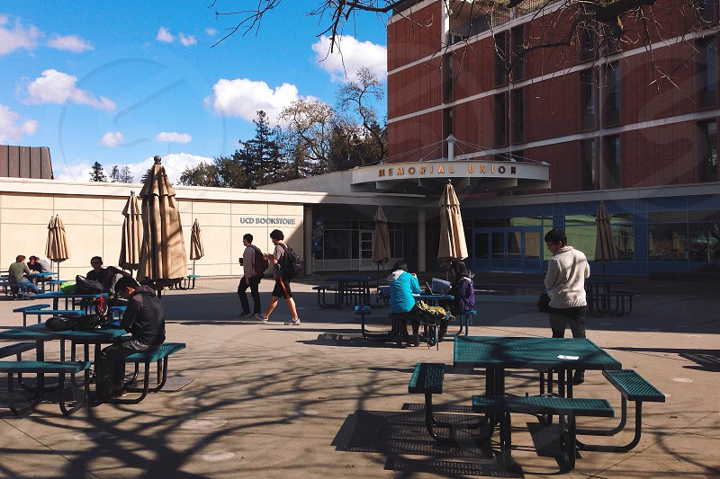 people sitting and standing outdoors near brown building photo