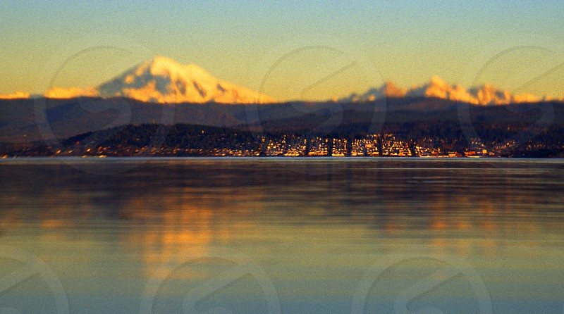 Fairhaven Washington from across the bay with Mt. Baker in the background. photo