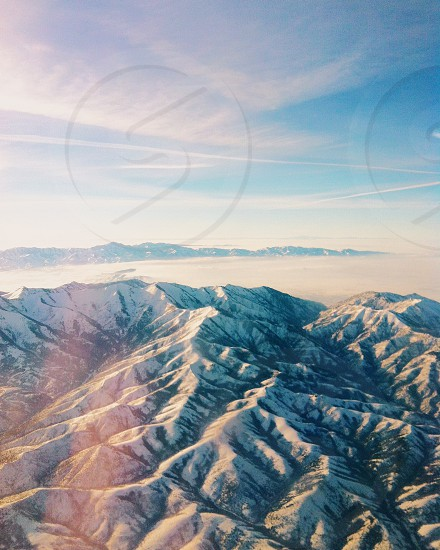 aerial view of mountains with snow photo