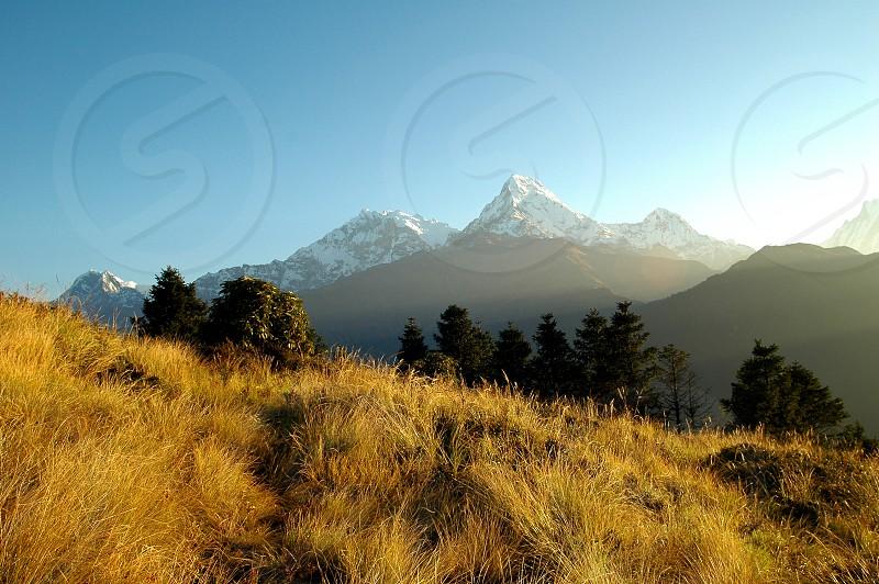 sunrise over a himalayan mountain range. photo