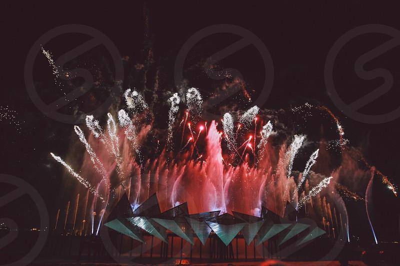celebrating fireworks new year photo