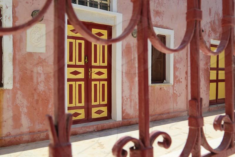 Color palette colors nuances door architecture  fence matching colors wall paint street photo