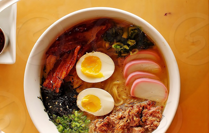 breakfast ramen egg bacon food food and drink. noodle photo