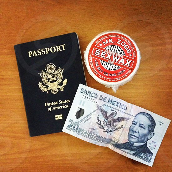 20 banco de mexico beside passport united states of america and mr. zogs sex wax photo