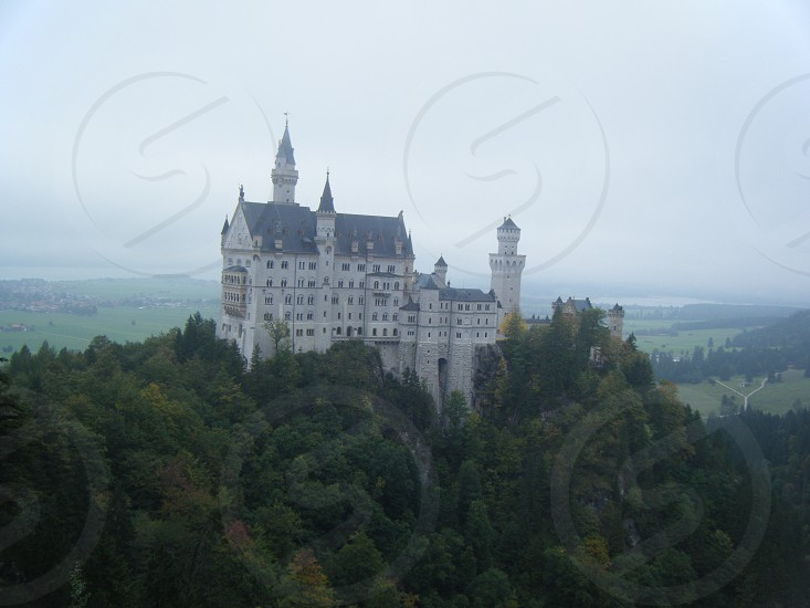 Neuschwanstein castle Germany on a cloudy day. photo