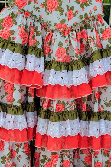 costumes gypsy style ruffle dress colorful andalusian Spain photo