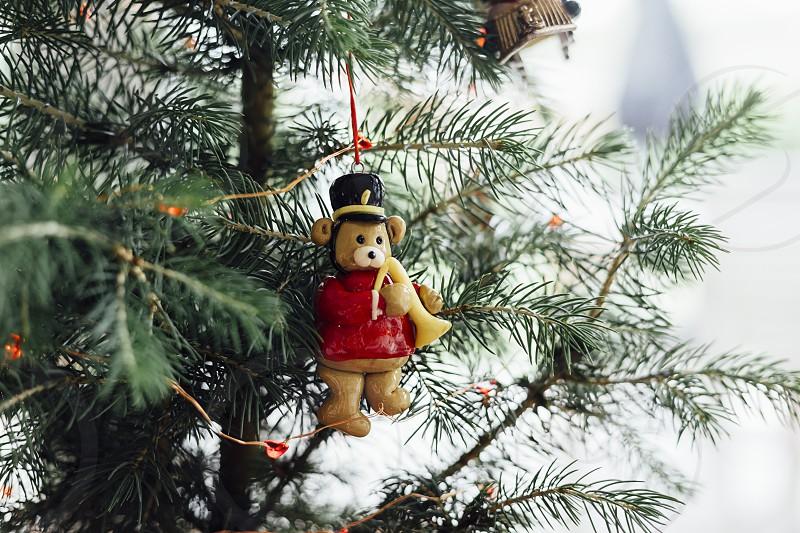 christmas decorations ornaments tree teddy bear decorating decor lights photo