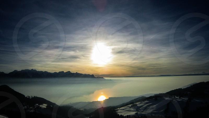 Lake Geneva sunset Switzerland  photo