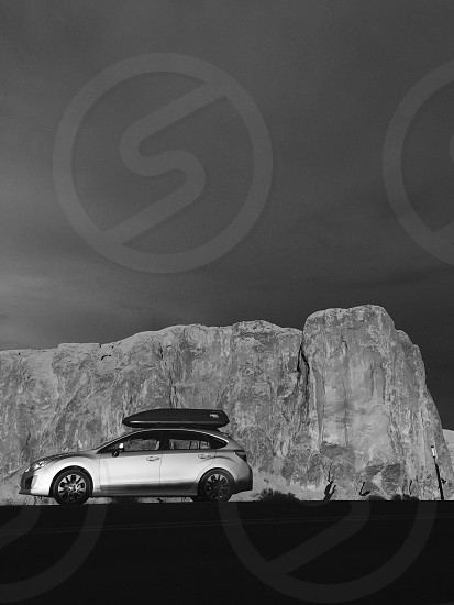 Hatchback Subaru Impreza southwest rocks black and white photo