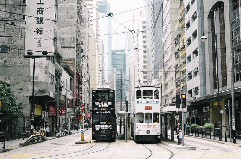 Double decker tram at Hong Kong photo