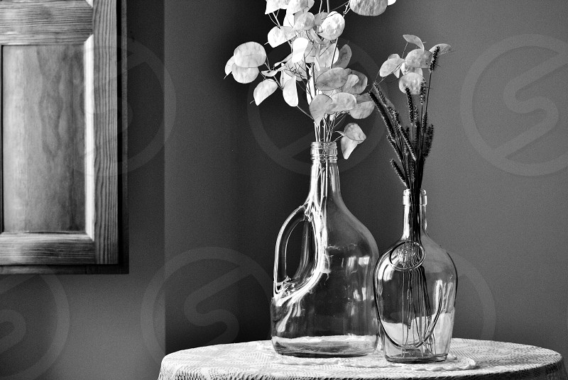 flowers in clear glass vase photo