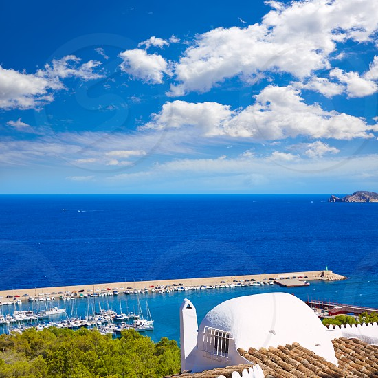 Javea Xabia village aerial view in Mediterranean sea of Alicante spain photo