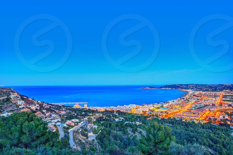 Javea Xabia aerial skyline sunset with port bay and village in Alicante Spain photo