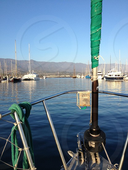 Setting sail in the Santa Barbara harbor. photo