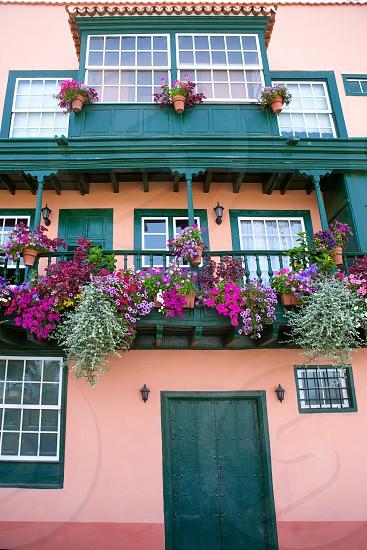 Santa Cruz de La Palma colonial flowers house facades in canary Islands photo