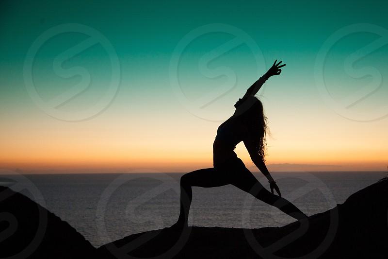 Yoga beach sunset  photo