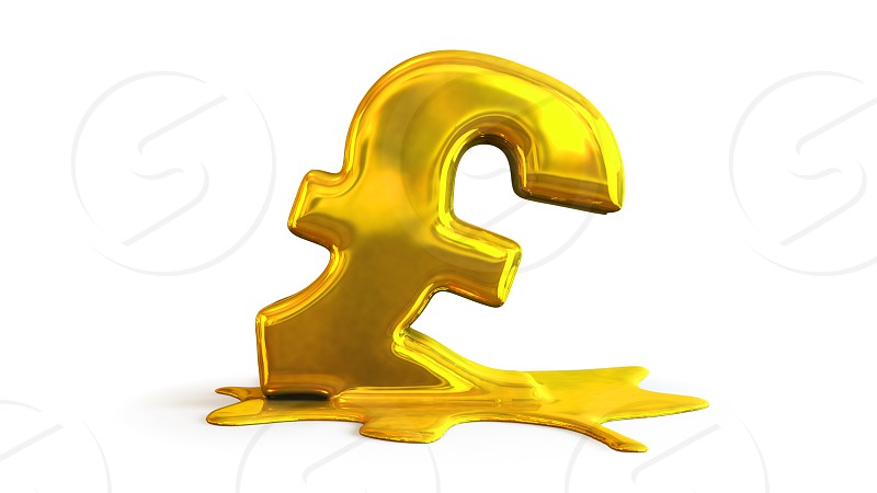 3D illustration of pound symbol melting photo
