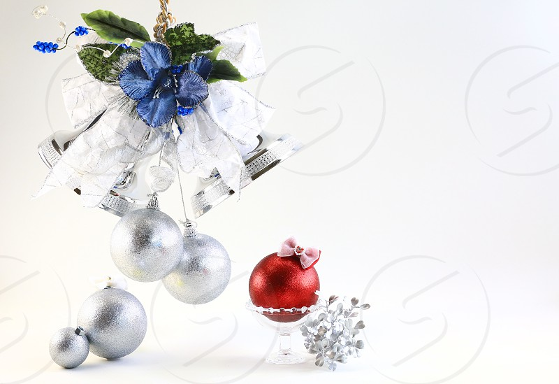 'Christmas Icons' (4): Bell Blue Christmas Bell Glass Gold Leaves Ornaments Red Ribbon Silver White Background Lovely Simple photo