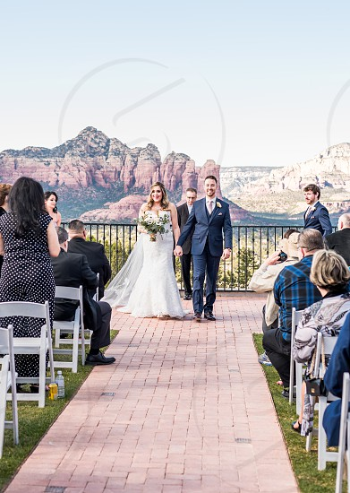Bright and colorful sunny Sedona Spring wedding photo