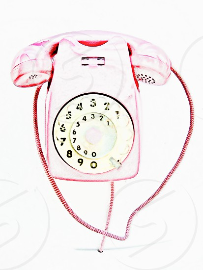 Drawing of a pink vintage telephone. photo