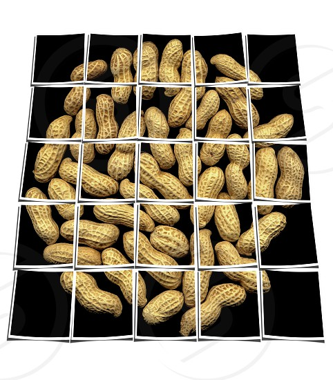 peanuts on black background collage composition of multiple images over white photo