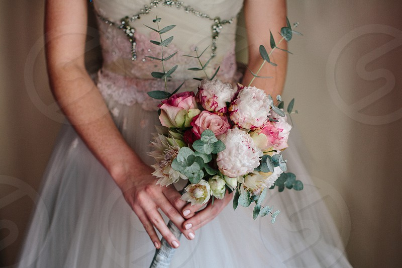 bride bridal bouquet flowers wedding beautiful peonies flora special event nuptials feminine love happiness happily ever after photo