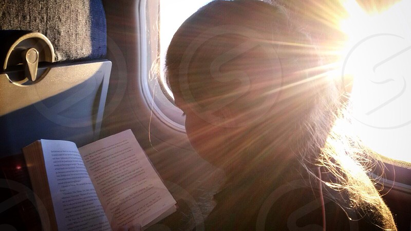 Sun light from an airliner window.  photo