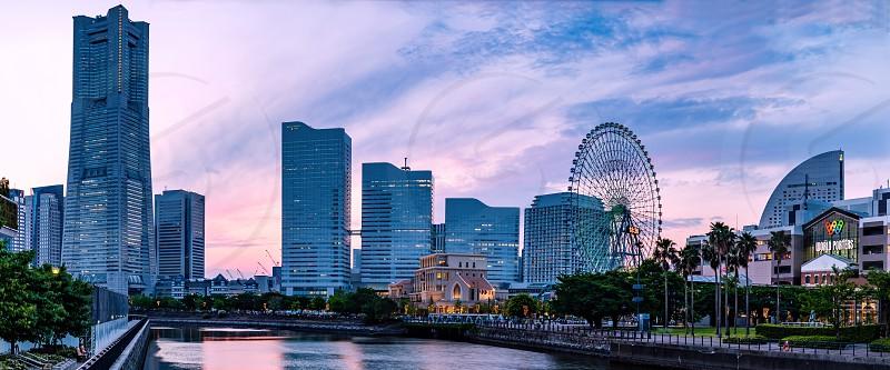 YOKOHAMA JAPAN 11 may 2019 The sunset view of the Yokohama Minato Mirai 21 area. photo