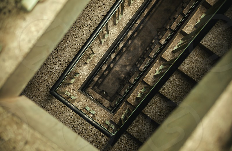 Old building hall interior details of stairways.  photo