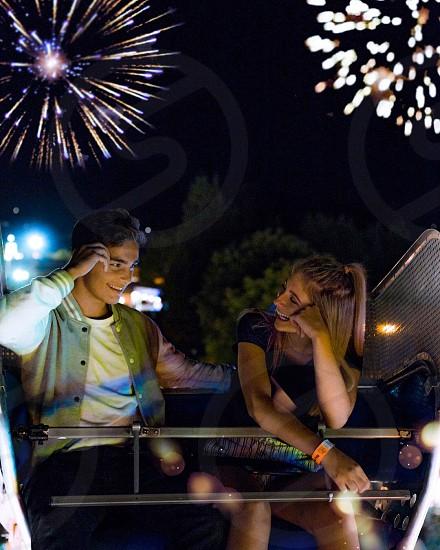 Vibrant happy love fireworks photo