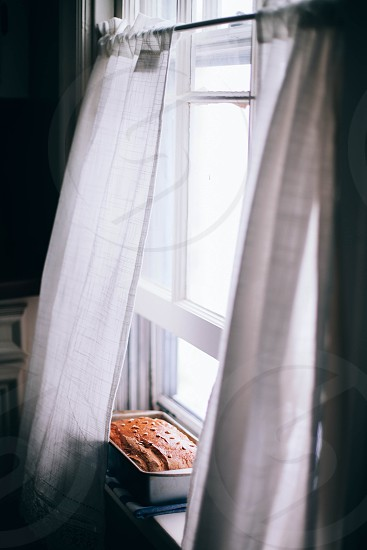 bread kitchen cooling windowsill fresh home interior rustic cosy warmth baking fresh photo