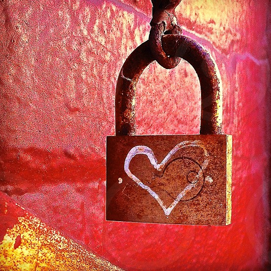 white open heart crest metal padlock photo
