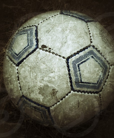 close up photo of white and black soccer ball photo