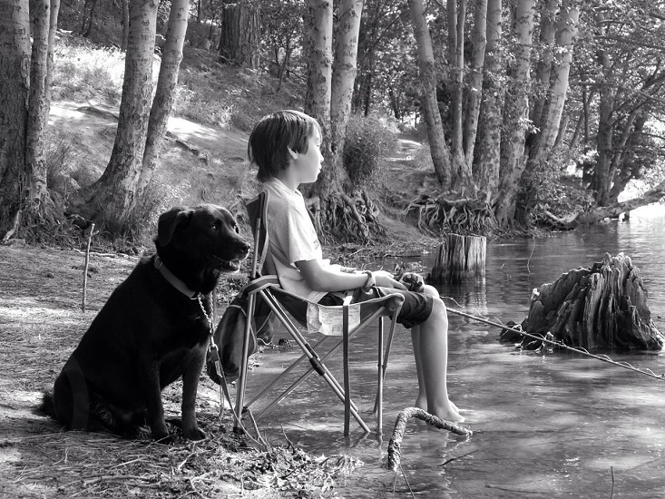 Boy and his dog. photo