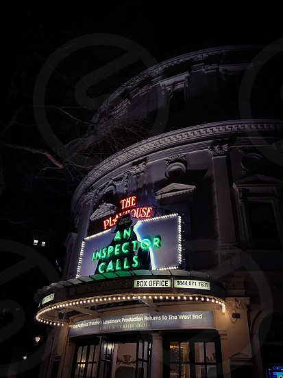 Indoor night colour landscape horizontal The Playhouse Theatre Theater London UK United Kingdom Capital City city urban arts culture curtain red velvet architecture audience exterior An Inspector Calls J. B. Priestley playwright photo