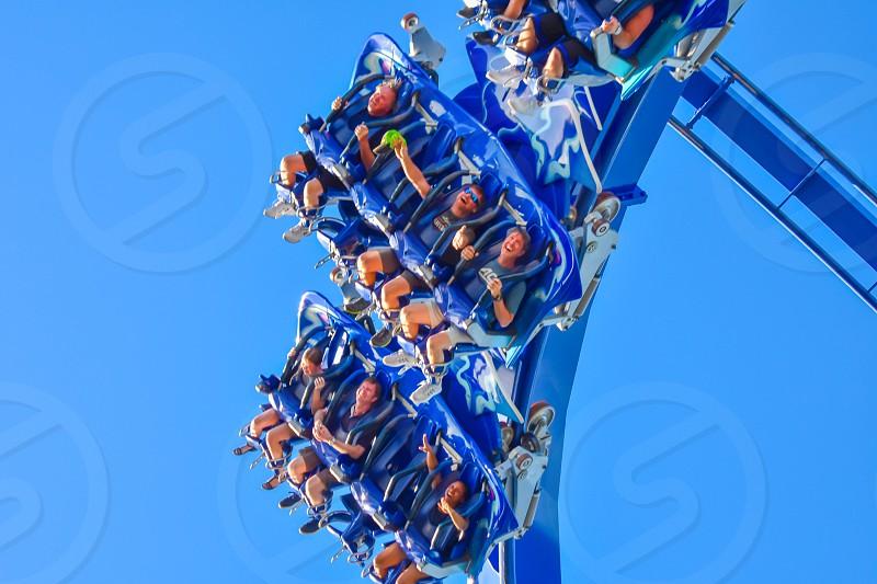 Orlando Florida . February 26  2019. People enjoying Manta Ray rollercoaster at Seaworld Theme Park  (7) photo