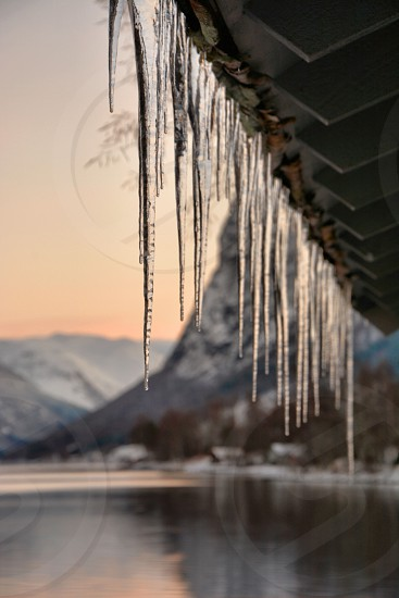 Icicles Norwegian winter photo