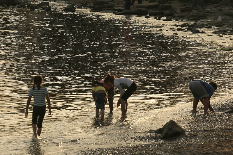 Kids playing in the ocean water. photo