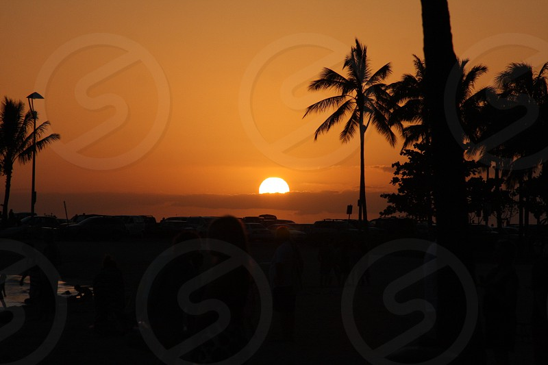 Sunset Hawaiian Hawaii Waikiki Beach photo