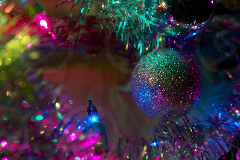 ornaments christmas close up macro colorful festive lights holiday  photo